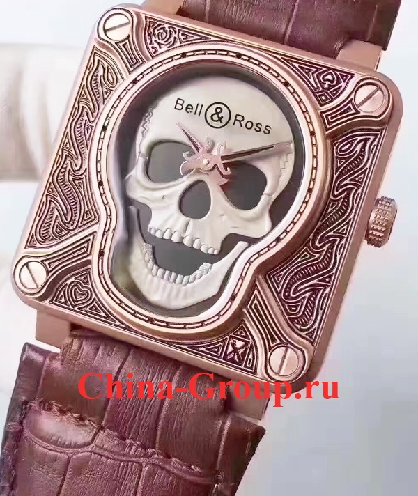 Часы Bell Ross Burning Skull Tattoo Gold 00121