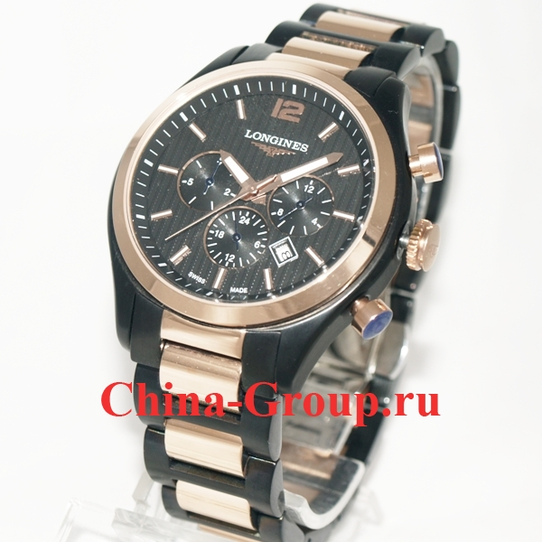 Часы Longines Conquest Classic Chronograph Black & Gold 60206